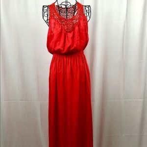 SWASS red maxi dress lace trim has pockets 4